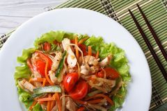 Chinese chicken salad with vegetables horizontal top view Stock Photos