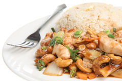 Chinese Chicken Takeaway Meal. Chinese takeaway meal of chicken with cashew nuts and egg fried rice Stock Photography