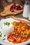 Chinese chicken with vegetables and rice. Royalty Free Stock Photos