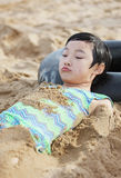 Chinese child on beach royalty free stock image