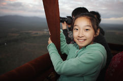 Chinese child on hot-air balloon Royalty Free Stock Image