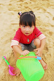 Chinese child Playing on the beach Royalty Free Stock Photos
