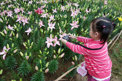 Chinese child take photos. In the park Stock Photography