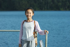 Chinese child visit lark lake Royalty Free Stock Photography