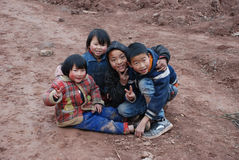 Chinese children. Smiling young Chinese children in the countryside, in Sichuan,China stock photos