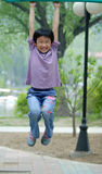 chinese children fitness chin-ups royalty free stock images