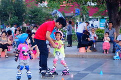 Chinese children learn roller skating sports Stock Image