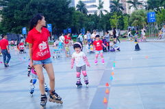 Chinese children learn roller skating sports Royalty Free Stock Photography