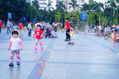 Chinese children learn roller skating sports Stock Photos