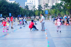 Chinese children learn roller skating sports Royalty Free Stock Image