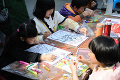 Chinese children painting Royalty Free Stock Photo