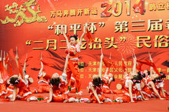 Chinese children performing  drum dance Royalty Free Stock Photography