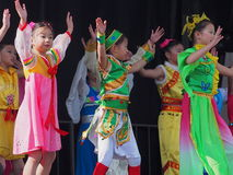 Chinese Children's Dance Troupe. At Kaleido Festival September 2014 Edmonton Alberta stock image