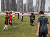 Chinese children's football training Royalty Free Stock Photos