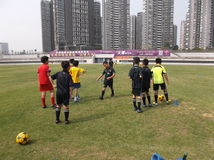 Chinese children's football training Royalty Free Stock Image