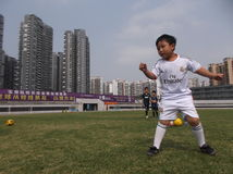 Chinese children's football training Stock Images