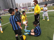 Chinese children's football training Stock Photography