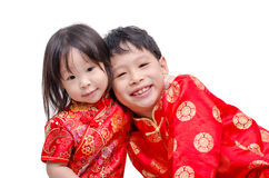 Chinese children in traditional costume Royalty Free Stock Photo