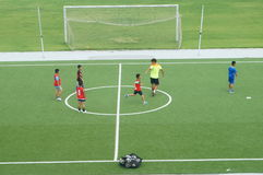 Chinese children are training football Royalty Free Stock Images