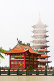 Chinese Chin Swee Temple. Chinese Temple hanging at 6000 meters high between lands and sky, between god and human beings, clouds mystic and mystery, Genting Royalty Free Stock Photos