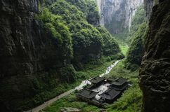 Chinese Chongqing. Asian China Chongqing scenic area in Wulong, doline wonders Royalty Free Stock Photos