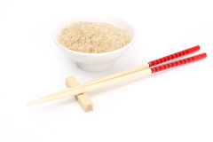 Chinese chopsticks with rice Royalty Free Stock Image