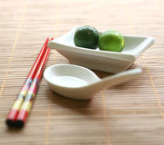 Chinese chopsticks and white ceramic bowl Stock Image