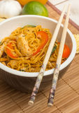 Chinese chow mein with chicken and bok choy Royalty Free Stock Images