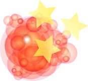 Chinese Circle Reflection. Round red circles with the three stars from the Chinese flag vector illustration