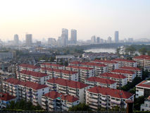Chinese city. A residential area in the foreground with high rise buildings behind in Nanjing, China Royalty Free Stock Images