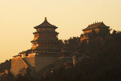 Chinese classic pavilion in sunset Stock Photography