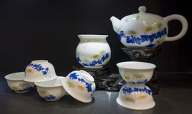 Chinese Classic tea set. Blue and white porcelain Royalty Free Stock Photos