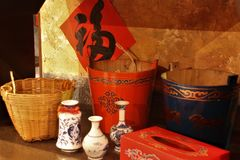 Chinese classic utensils baskets and pail royalty free stock photography