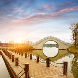Chinese classical arch bridge. Antique arch bridge and wood corridor, Hangzhou, China Stock Photography