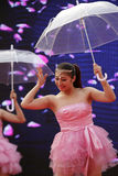 Chinese classical beauty umbrella dance Royalty Free Stock Photography