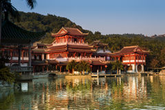 Chinese classical building in lake Stock Photo