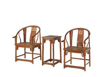 Chinese classical furniture  of Ming-style. Cycling armchair and a high table ,made by scented rosewood, or  Huang Huali  in  chinese Stock Photos