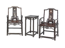 Chinese classical furniture  of Ming-style. Armchairs and a high table.They are made by Red sandalwood,or Zitan in chinese Stock Image