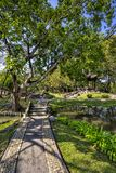 Chinese classical garden with pavilions and pond Stock Photography