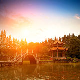 Chinese classical gardens of the twilight Royalty Free Stock Photos