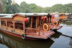 Chinese classical wooden boat Stock Photography