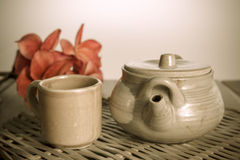 Chinese clay teapot with glass cup Royalty Free Stock Photos