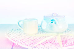 Chinese clay teapot with glass cup, Soft Focus Color Filtered Stock Photos