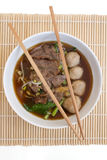 Chinese clear soup with boiled entrails and vegetables royalty free stock photography