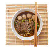 Chinese clear soup with boiled entrails and vegetables stock images