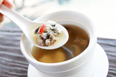 Chinese cleared soup with black bone chicken. Hand holding the spoon of Chinese cleared soup with black bone chicken and herbs Stock Photography