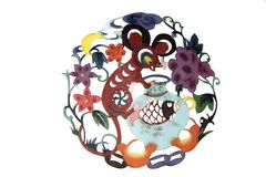 Chinese cloth art paper-cut royalty free stock image
