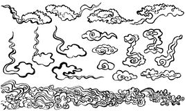 Chinese cloud. Hand drawn illustrations