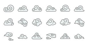 Chinese Cloud icon raw material for use, filled outline editable. Stroke royalty free illustration