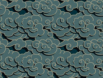 Chinese clouds. Chinese dark clouds with shadow, seamless background royalty free illustration